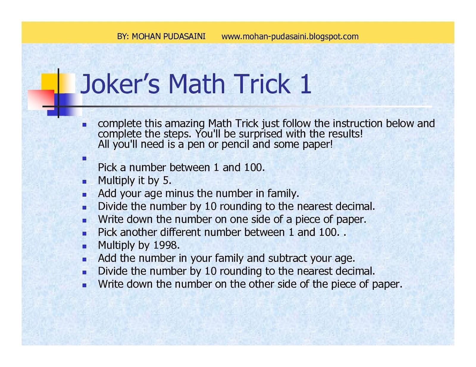 Mathematics tricks ~ Mohan Pudasaini