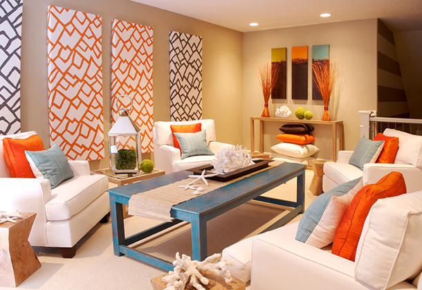 Seaside interiors blue and orange color combo