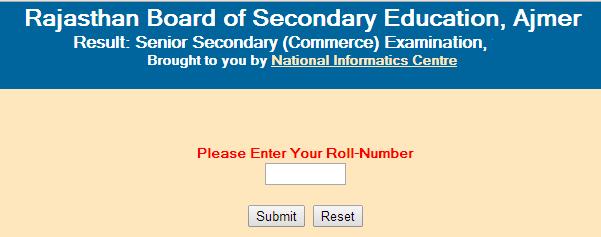 Rajasthan Senior Secondary/12th (Commerce) 2015 Result