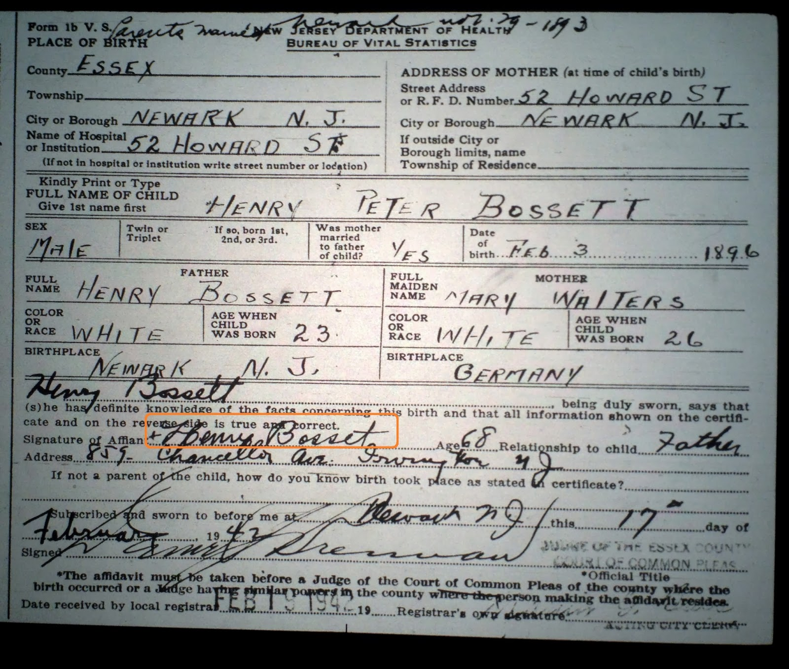 Family history research by jody delayed birth certificates delayed birth certificate for henry bossett born in newark new jersey on february 3 1896 xflitez Choice Image