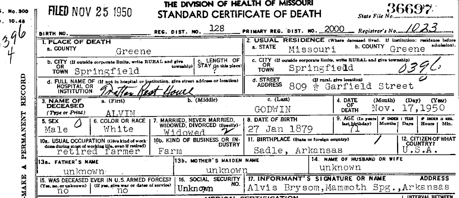 Welcome to genealogy by ginger a little white lie here is a cropped image of alvin godwins death certificate stating his date of birth was 27 jan 1879 and the informants name of alvis bryson from mammoth aiddatafo Images