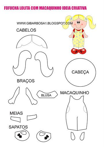Molde Fofucha Plana Lolita com Macaquinho Ideia Criativa