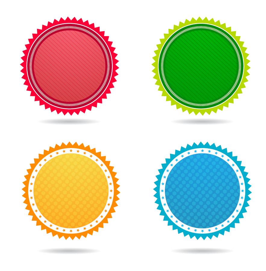 ギザギザの円形バッジ テンプレート circle badge interface icons イラスト素材