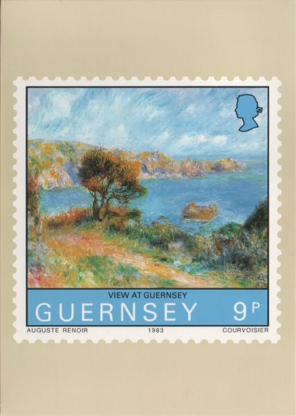 Renoir painting on a stamp - View at Guernsey - overlooking bay