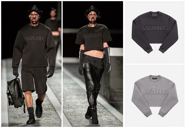 H&M x Alexander Wang 2014 AW Grey or Black Short Scuba Top