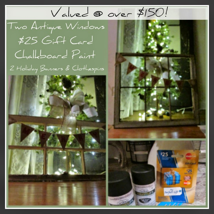 Christmas Giveaway~Win 2 Antique Wood Windows plus goodies to decorate them with @ www.rustic-refined.com