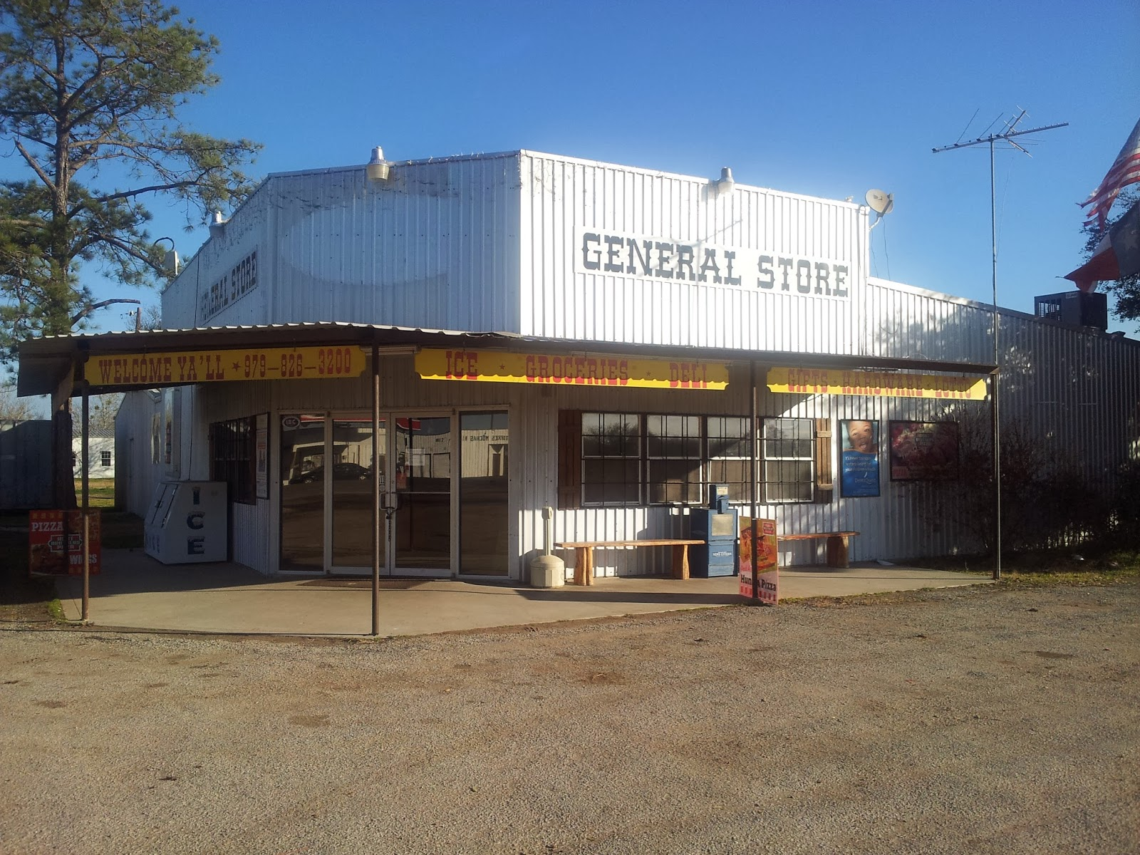 First rest stop was in parking lot of this shuttered general store