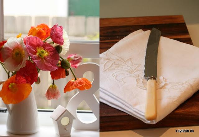 French look Enamel jugs, vintage linens and bone handled cutlery