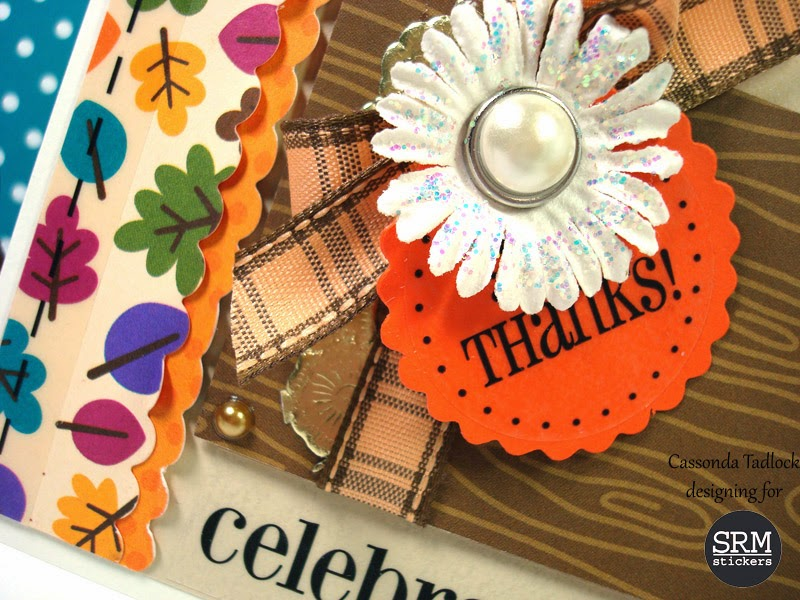 SRM Stickers Blog - Celebrate Autumn by Cassonda - #thanks #card #fall #doilies #gold #stickers #thanksgiving