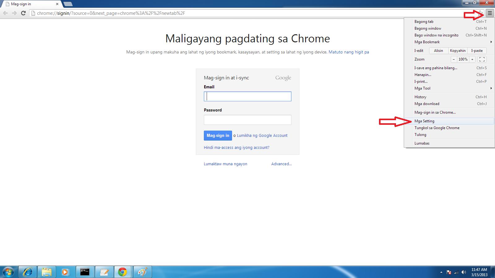 foobaring: HowTo:Google Chrome from Tagalog to English
