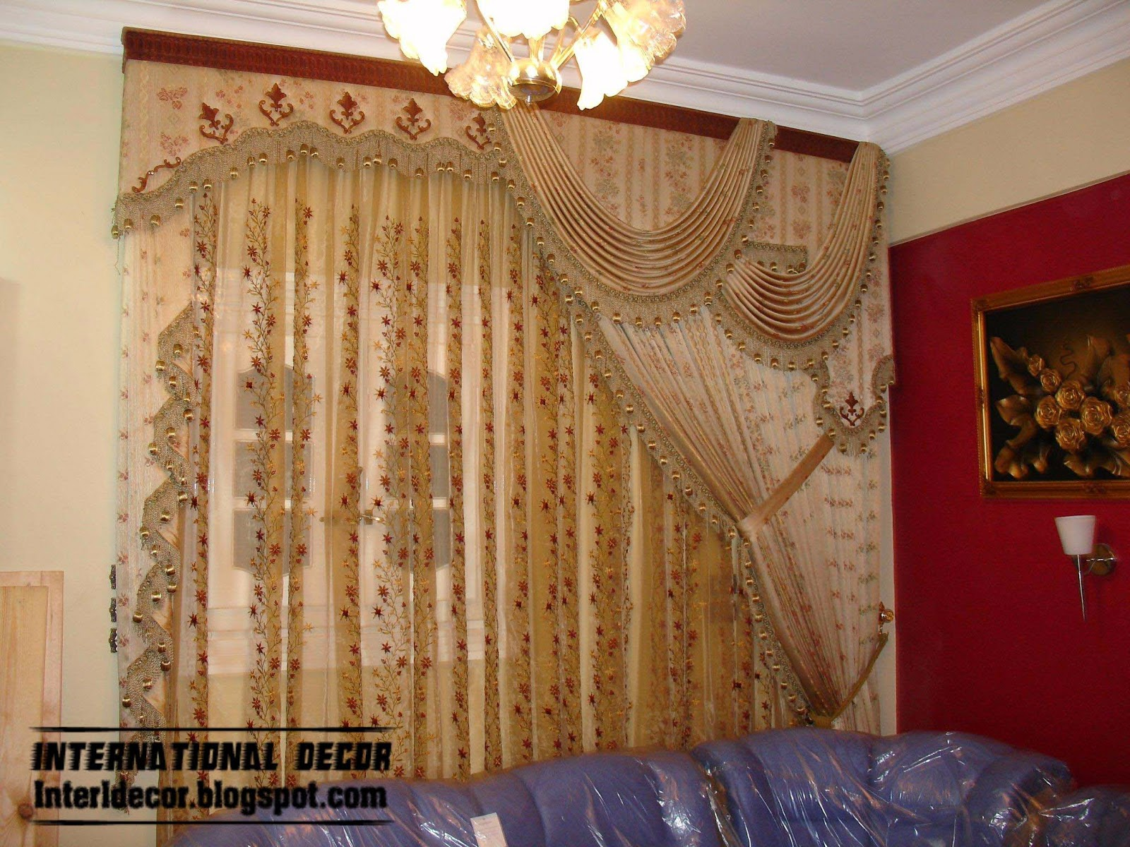 Top catalog of luxury drapes curtain designs for living room interior 2015 - Sitting room curtain decoration ...