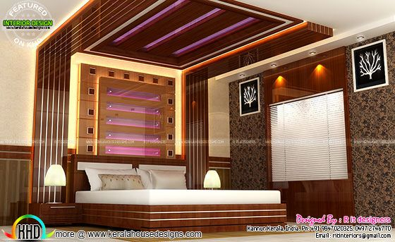 House interiors by r it designers kerala home design and for Master bedroom designs kerala