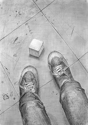横浜美術学院の中学生教室 美術クラブ 新年度スタート課題「ある場所に置かれた立方体」過去の中学生の作品1
