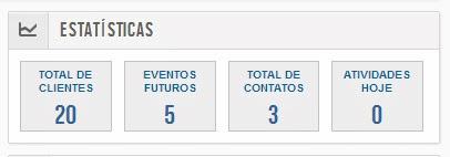 Caixa de exibição das estatísticas no Cadastro de Clientes Online