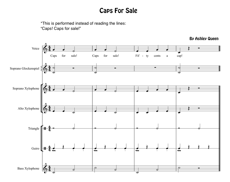 http://www.teacherspayteachers.com/Product/Caps-For-Sale-Instrumentation-for-Orff-Instruments-1636742