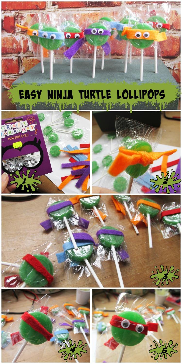 Cute (and Easy) Ninja Turtle Lollipops