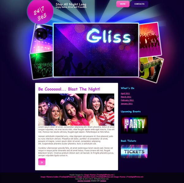 Gliss Nightclub - Free Joomla! Template