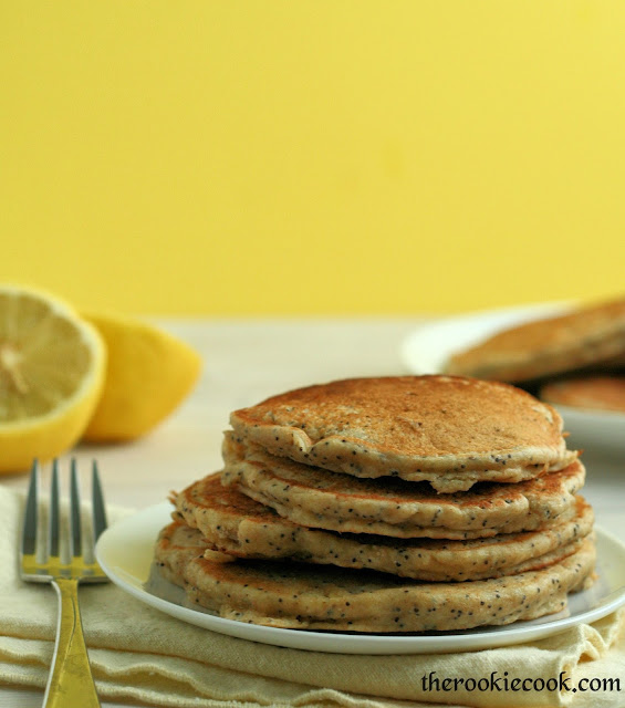 Lemon Poppy Seed Yogurt Pancakes ~ The Rookie Cook