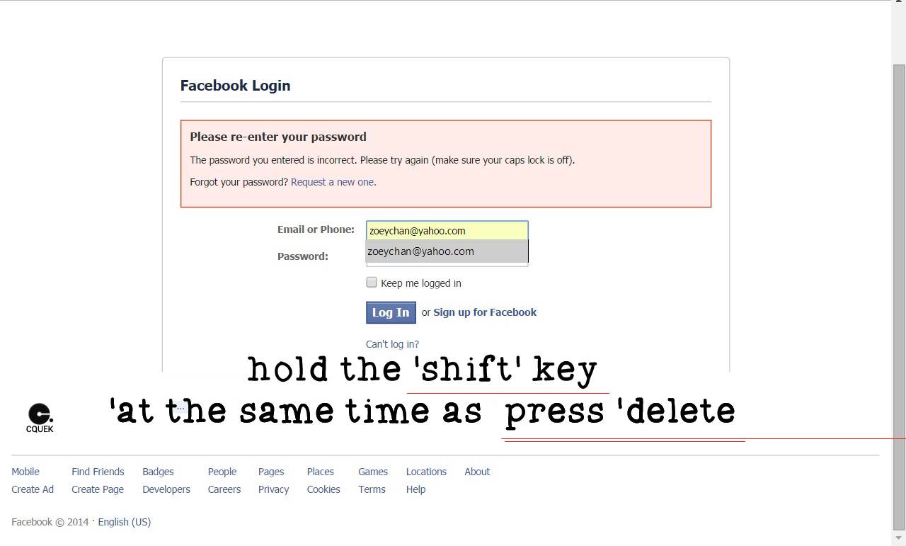 How can i delete email addresses from the facebook login page cquek if you would like to remove an email address from the facebook login page you can follow the instructions below ccuart Image collections
