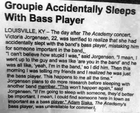 EEEWWWW ICKIE...A Bass Player?