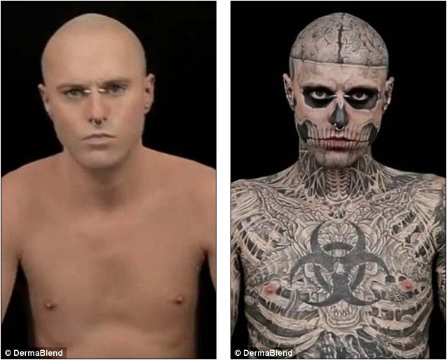 Zombie boy as you 39 ve never seen him before with no for Dermablend tattoo cover up video