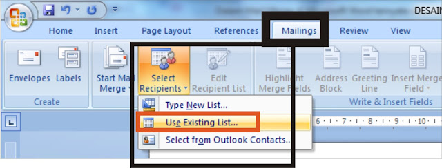 Mail Merge dari Excel ke Word