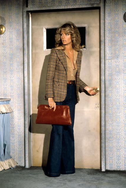 plaid blazer, 70's style, flares, Farrah Fawcett
