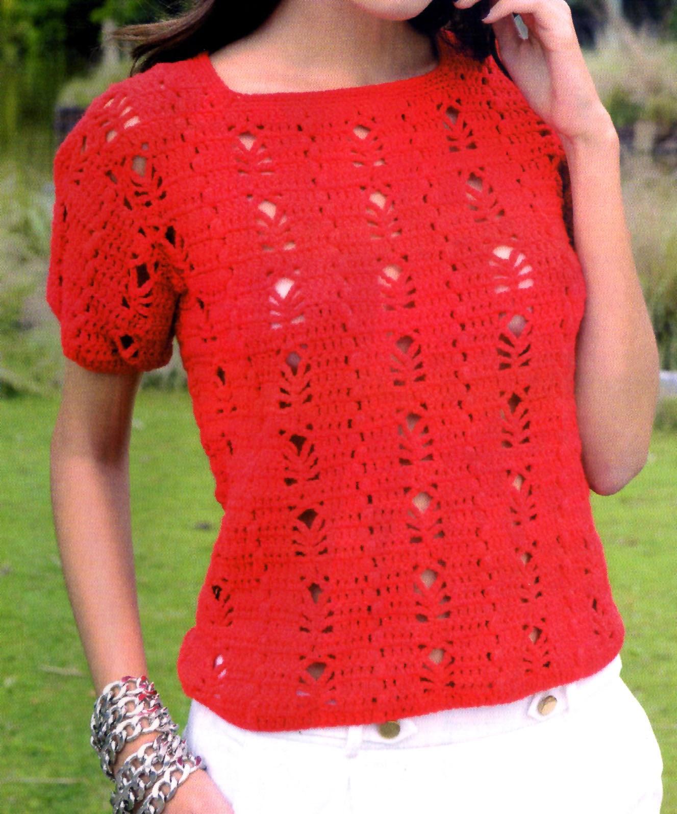 remera en rojo tejida en crochet