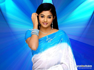 priyamani beautiful in white and blue saree