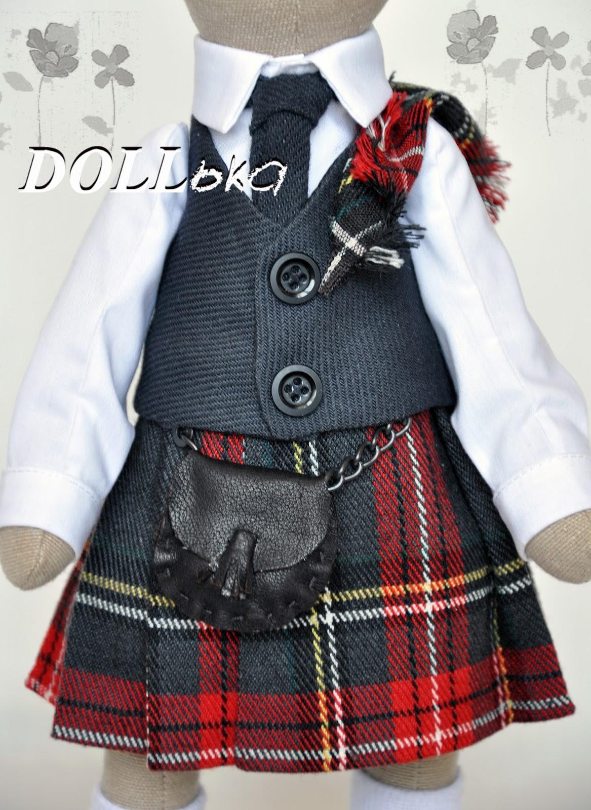 Кот шотландец текстильная игрушка ручной работы