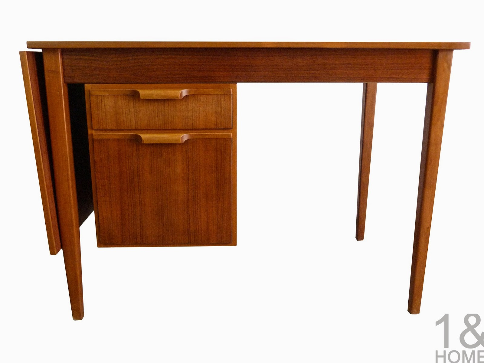 Danish Modern 2 drawer teak mid-century drop leaf desk