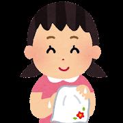 ハンカチで手を拭子供のイラスト(女の子)