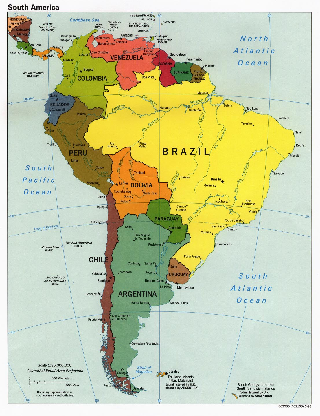 Amerique du Sud Carte Avec Pays | Carte du Monde Avec Pays