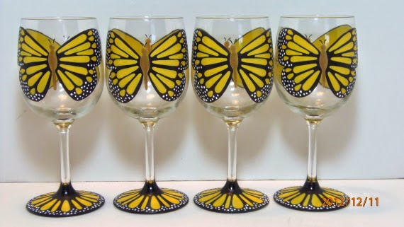 Yellow Monarch Painted Wine Glasses via Kudos Kitchen by Renee