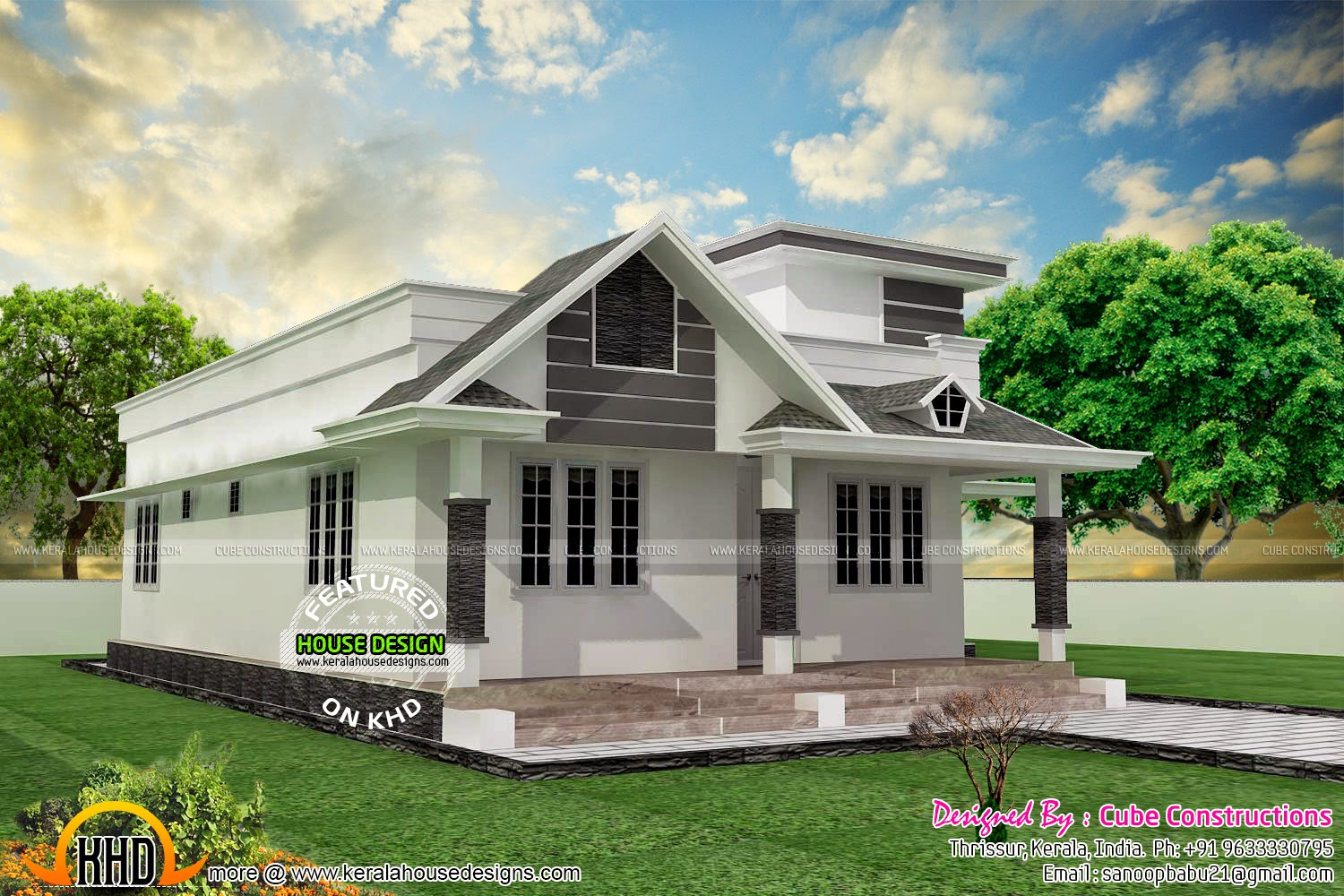 2 bedroom small one floor home kerala home design and for One floor house images