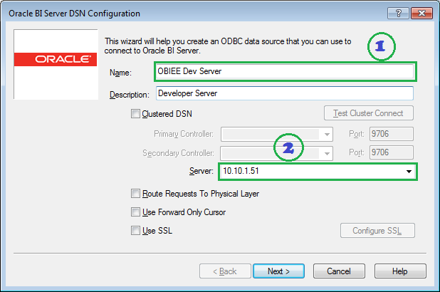 the above step prompt the oracle bi server dsn configuration window 1 enter dsn name 2 enter obiee server host name or ip address and then click next obiee administration