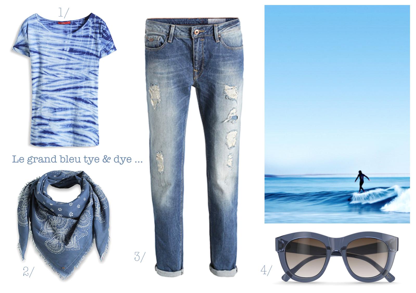 esprit,tye &dye,tee-shirt,jean boyfriend,destroy,bandana