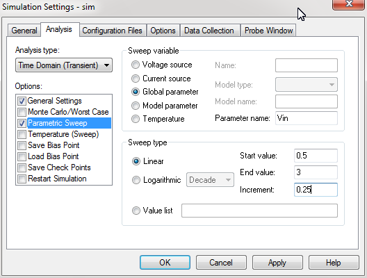 Simulation setting for voltage parameter sweep