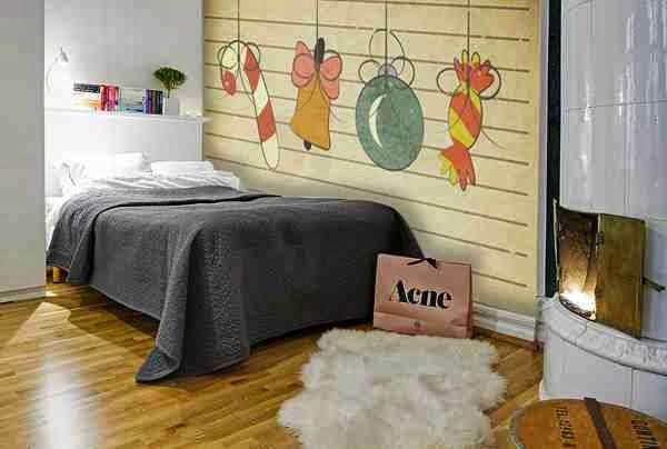 świąteczne naklejki w sypialni