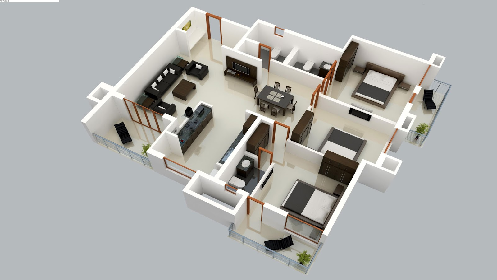 Foundation Dezin Decor 3d Plan Layout Furniture