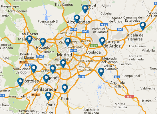 Map of Decathlon stores in Madrid