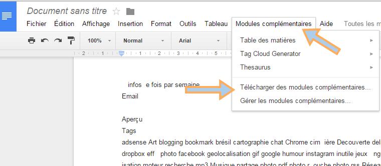 Tag Cloud Generator module complémentaire google doc