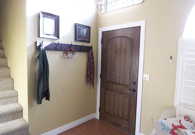 DIY Wall Mounted Coat Rack for Front Door Entryway