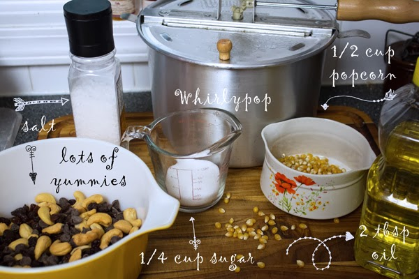 ingredients for kettle corn trail mix