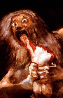 """Famoso cuadro de Francisco de Goya """"Saturno devorando a un hijo"""", otra forma de canibalismo."""