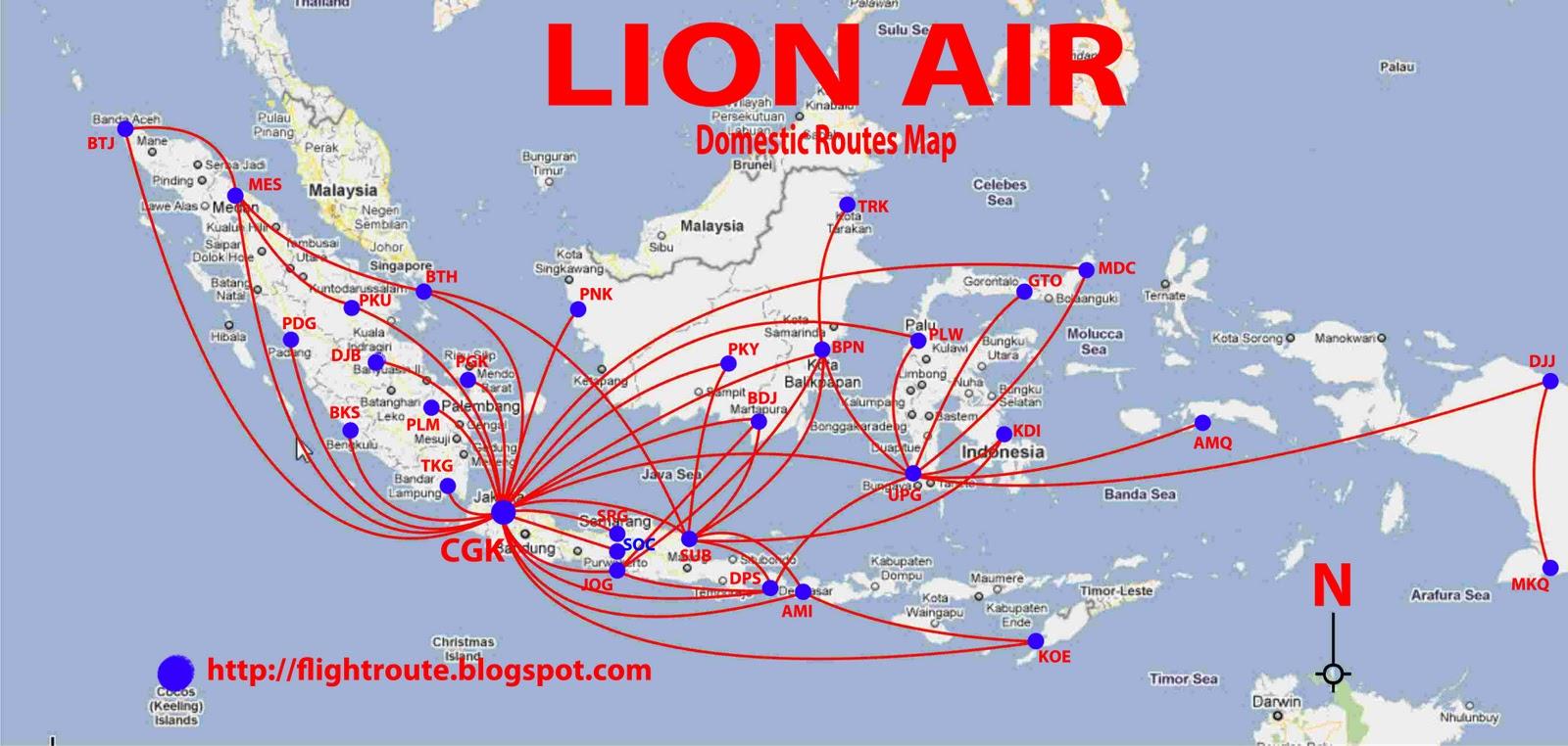 lion air routes map