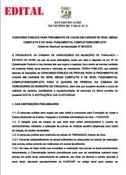EDITAL DO CONCURSO DA CÂMARA MUNICIPAL