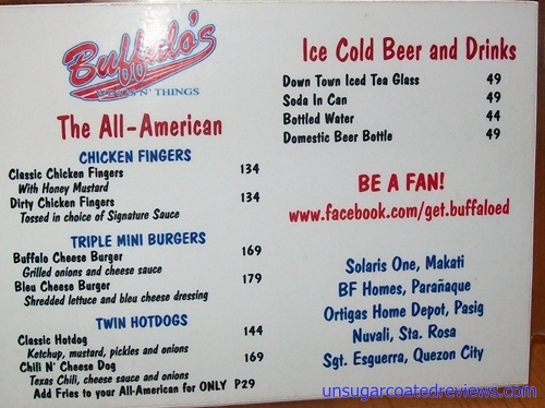 Buffalo's Wings n' Things menu 2
