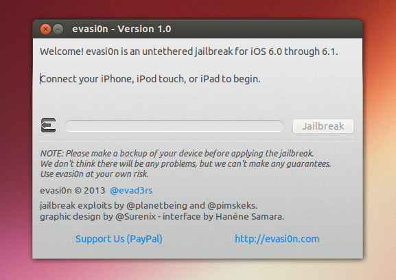 jailbreak ios 6 0 and 6 1 devices under linux using evasi0n web