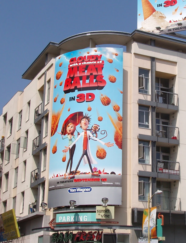 Cloudy meatballs movie billboard